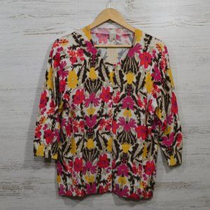 Madison  Abstract Floral Cardigan  XL